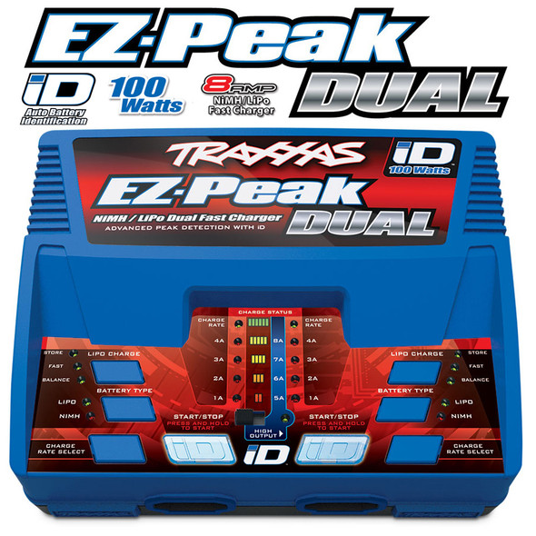 Traxxas 2972 EZ-Peak Dual 8amp iD Fast AC Charger for 2S/3S LiPo / NiMh Batteries