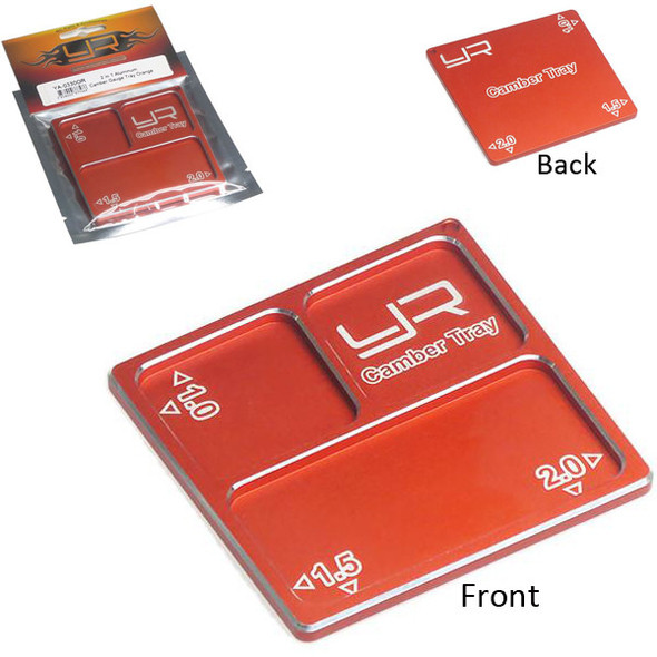 Yeah Racing YA-0330OR 2 In 1 Aluminum Camber Gauge Tray 76mmx73mmx4mm Ornge 1/10