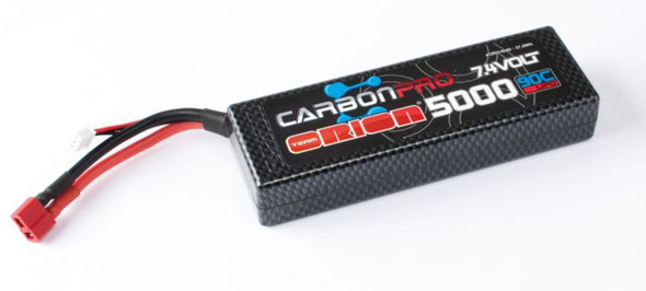 Team Orion 2S 7.4V 5000mAh 90C Carbon Pro LiPo Battery w/ Deans ORI14040