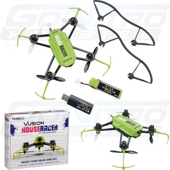 RISE Vusion House Racer 125 Race Indor Mini Quadcopter Green FPV-Ready 5.8GHz