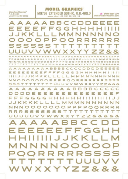 Woodland Scenics Extended Gothic R.R. Letters Gold 1/16-1/4 MG736
