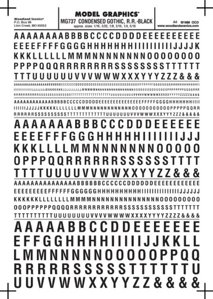 Woodland Scenics Condensed Gothic R.R. Letters Black 1/16-5/16 MG737