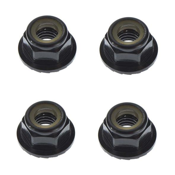 Tekno R/C M5 Locknuts Aluminum/Flanged/Serrated Black (4) TKR1215