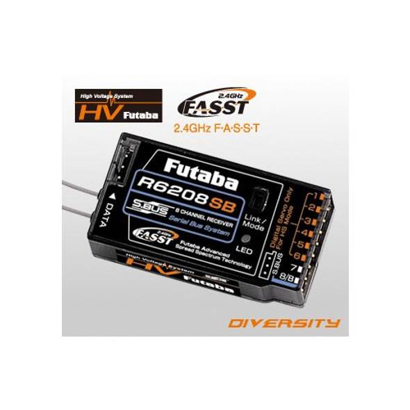 Futaba R6208SB 8-Ch 2.4GHz FASST Hi-Voltage Rx Receiver : 8FG / 10C / 18MZ / 18SZ / 14SG