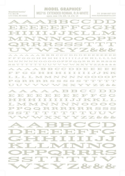 Woodland Scenics Extended Roman R.R. Letters White 1/16-1/4 MG716