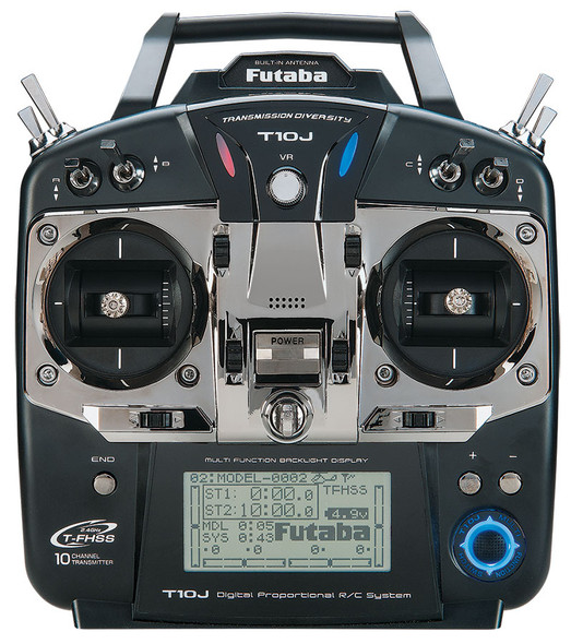 Futaba 10J S/ FHSS Helicopter 10 Channel 2.4GHz Transmitter w/ R3008SB Receiver Mode 2 FUTK9201