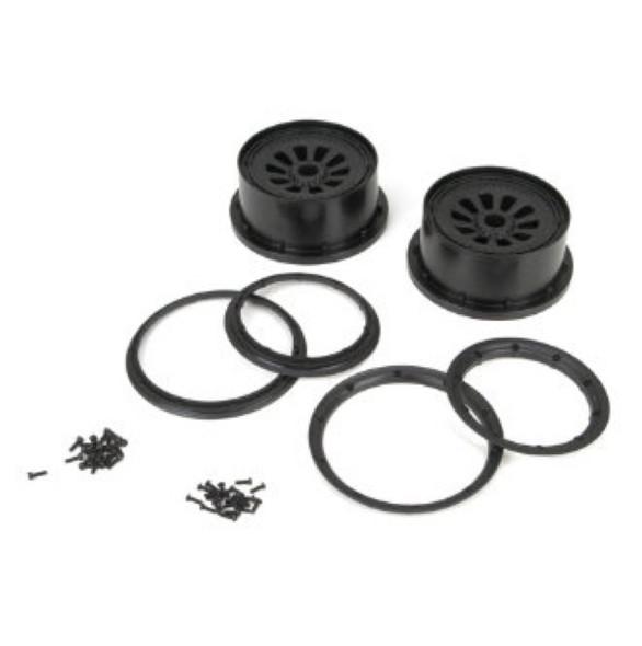 Losi LOSB7034 Wheel & Beadlock Set, Black (2) 1/5th Scale 5ive-T