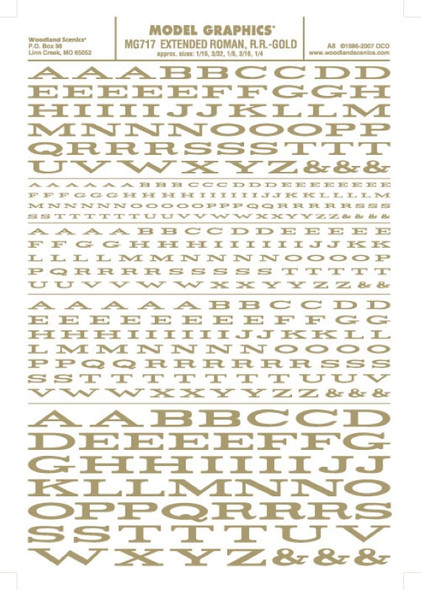 Woodland Scenics Extended Roman R.R. Letters Gold 1/16-1/4 MG717
