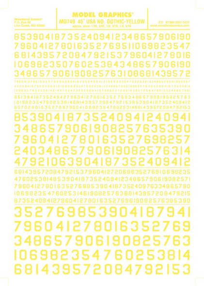 Woodland Scenics 45 Degree USA Gothic RR Numbers Yellow 1/16-5/16 MG749