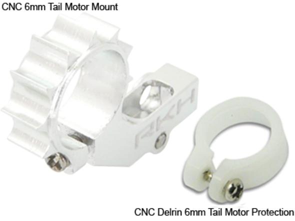 RAKON HELI Blade MCPX MSR/X CNC 6mm Tail Motor Mount w/Delrin Protection Silver