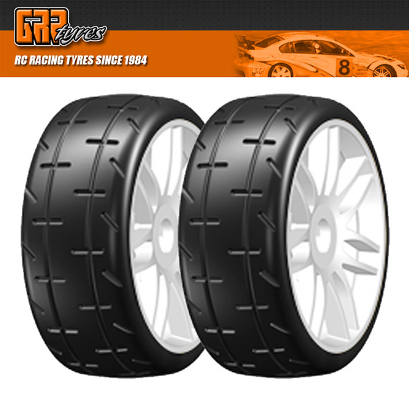 GRP GTJ01-S2 1:8 GT T01 REVO S2 XSoft Belted Tire w/ Spoked White Wheel (2)