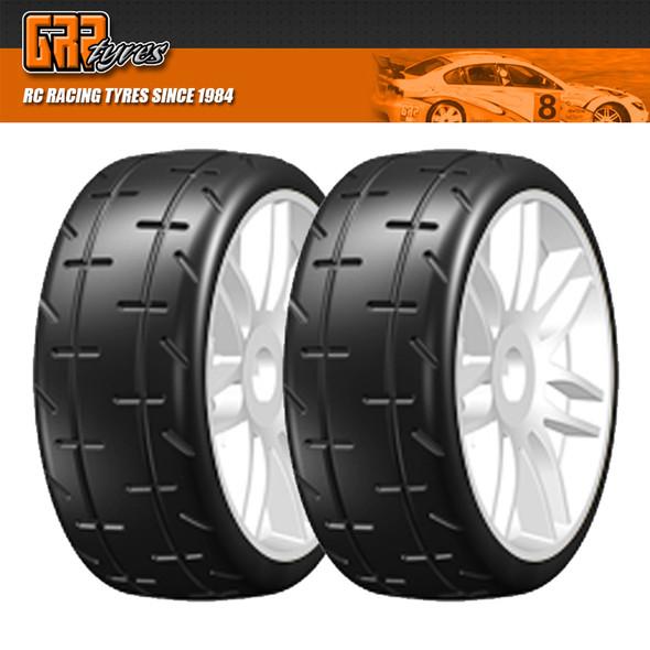 GRP GTJ01-S5 1:8 GT T01 REVO S5 Medium Belted Tire w/ Spoked White Wheel (2)