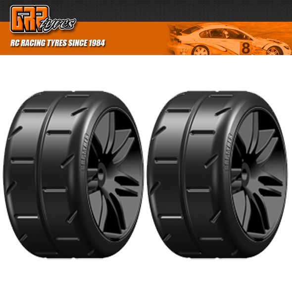 GRP GWX02-M1 1:5 TC W02 REVO M1 ExtraSoft Belted Tire w/ Black Wheel (2)
