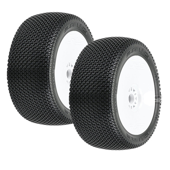 Pro-Line 9064-033 Slide Lock Off-Road 1:8 Buggy Tires Mounted White Wheels (2) : Front or Rear
