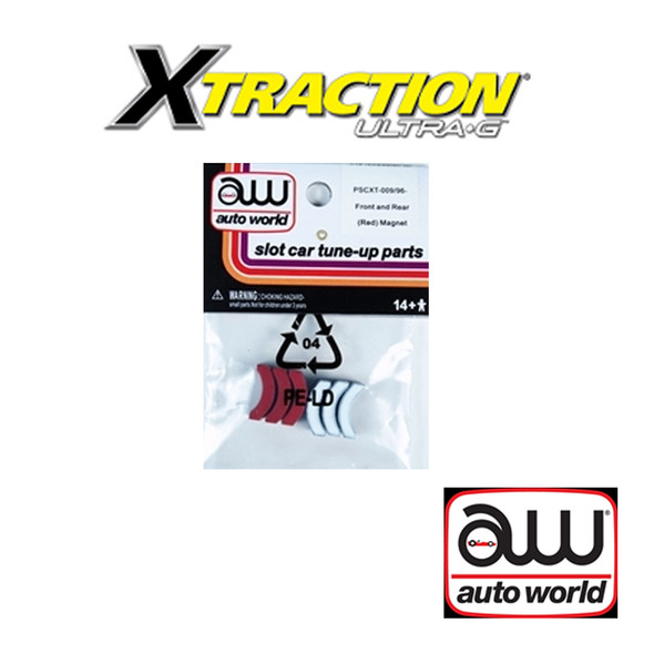 Auto World Xtraction Front / Rear Red Magnet (6) Pack : 1:64 / HO Scale Slot Car