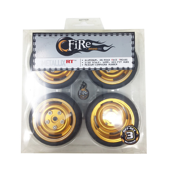 Fire Brand RC METALLIX RT 1:10 ALUMINUM CLASSIC WHEELS / TIRE SET (4)