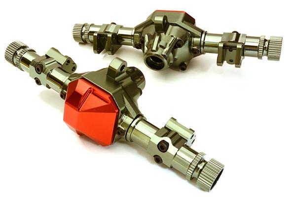 Integy Aluminum Axle (2) Housings w/ Diff Covers : SCX10 II OBM-1343GUNRED