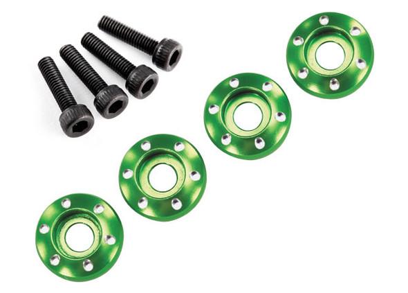Traxxas Latrax 7668G Alum Wheel Nut Washers Green (4) w/Screws : LaTrax Teton