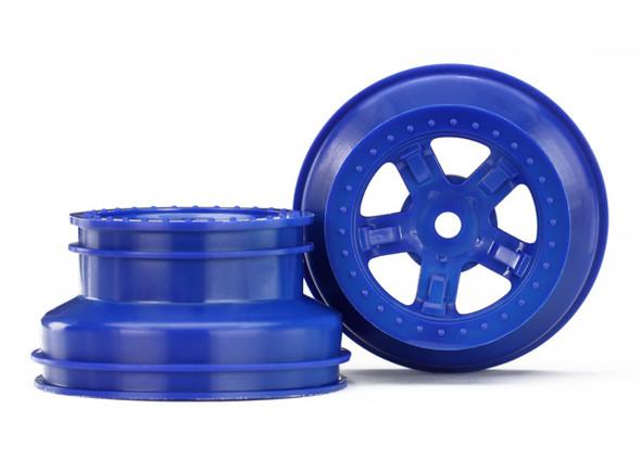 Traxxas LaTrax 7673 1/18 SCT Beadlock Style Wheels (2) Blue : LaTrax SST