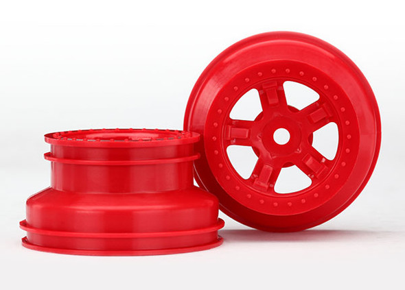 Traxxas LaTrax 7673R 1/18 SCT Beadlock Style Wheels (2) Red : LaTrax SST