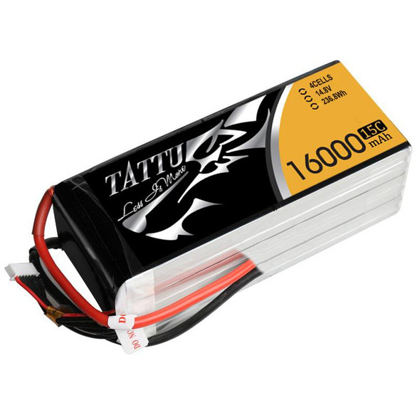 Tattu 4S 16000mAh 14.8V 15C 4S1P Lipo Battery Pack Bare Wire End