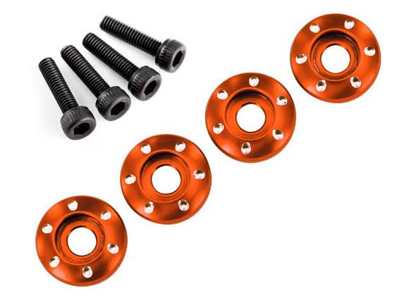 Traxxas Latrax 7668X Alum Wheel Nut Washers Orange (4) w/Screws : LaTrax Teton