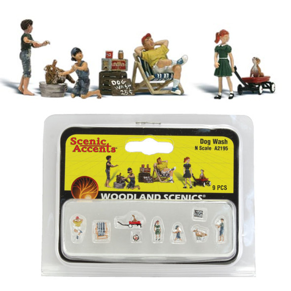 Woodland Scenics Accents A2195 Figures - Dog Wash- Pkg (9) N Scale