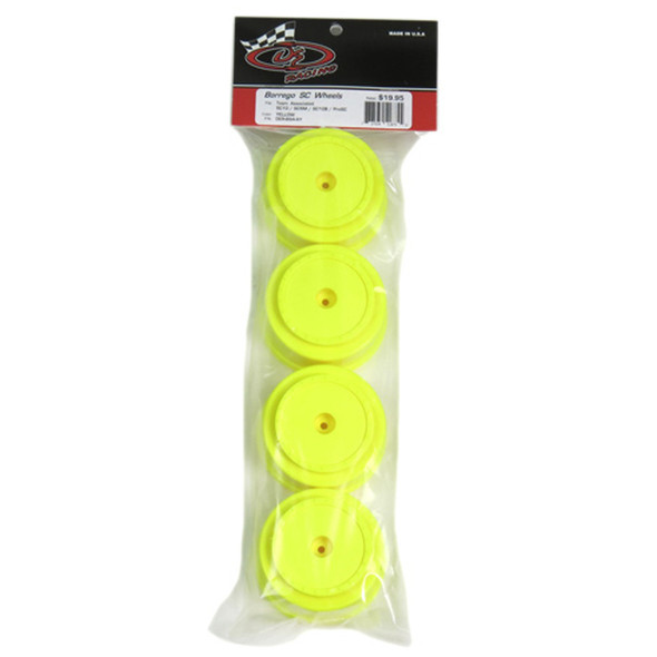 DE Racing Borrego SC Yellow Wheels (4) : Associated SC5M - SC10 - ProSC / +3mm