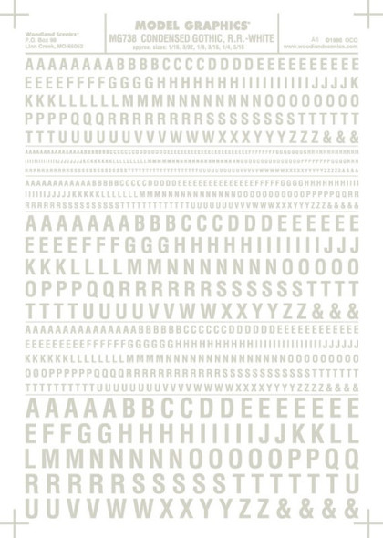 Woodland Scenics Condensed Gothic R.R. Letters White 1/16-5/16 MG738