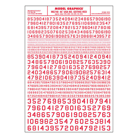 Woodland Scenics MG748 Dry Transfer Decals Numbers 45° USA Gothic Red All Scales