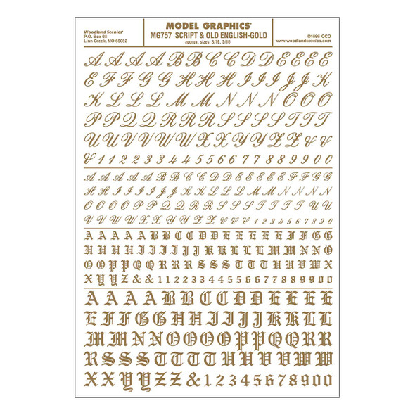 Woodland Scenics MG757 Dry Transfer Decals Script & Old English Gold All Scales