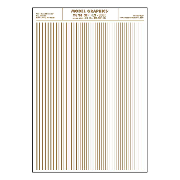 Woodland Scenics MG761 Dry Transfer Decals Stripes Gold All Scales