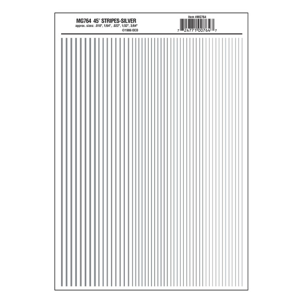 Woodland Scenics MG764 Dry Transfer Decals Stripes Silver All Scales