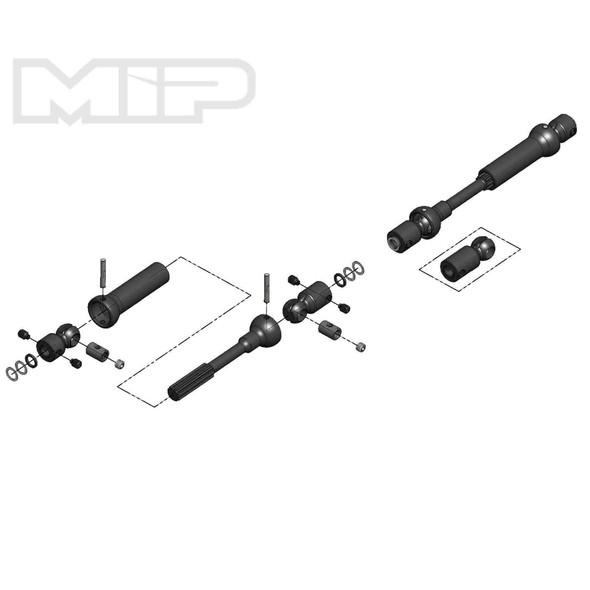 MIP X-Duty Center Drive Kit 115 to 140mm w/5mm Hubs: SCX10 Trail Honcho/Wrangler/Cherokee 18160