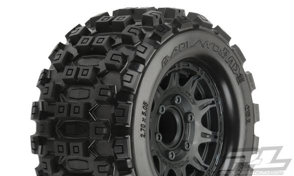 """Pro-Line 10125-10 Badlands MX28 2.8"""" Tires Mounted Black Wheels : Stampede / Ruster"""
