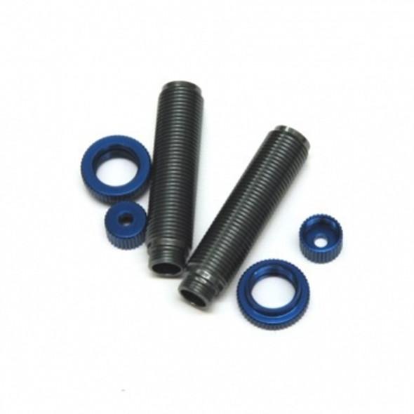 STRC Alum Threaded Shock Bodies Lower Caps & Collar (1 pair) : Ascender GM-Blue