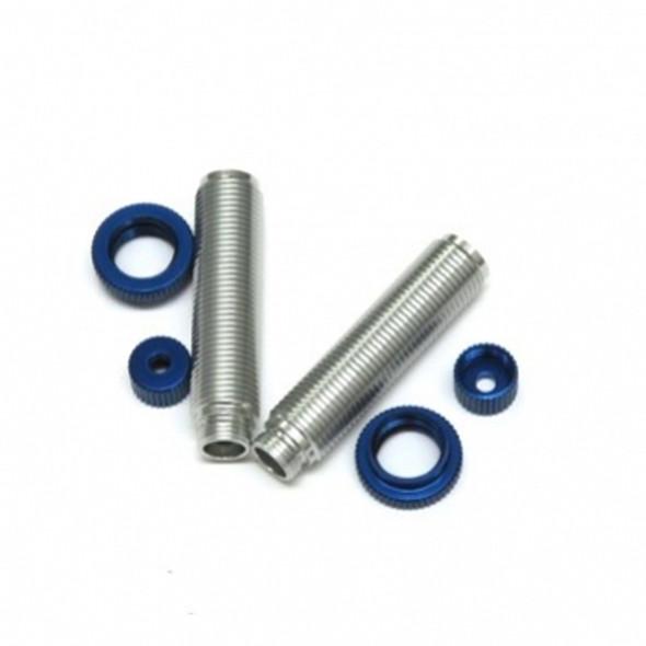 STRC Alum Threaded Shock Bodies Lower Caps & Collar (1 pair) : Ascender Sil-Blue