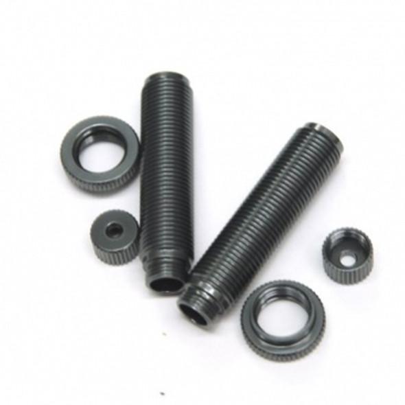 STRC Alum Threaded Shock Bodies Lower Caps & Collar (1 pair) : Ascender GunMetal