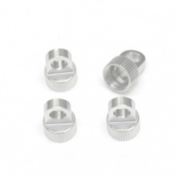 STRC STV233027S Aluminum Upper Shock Caps (4) : Vaterra Ascender Silver