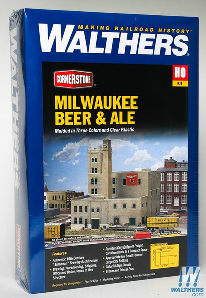 Walthers 933-3024 Milwaukee Beer and Ale Brewery Kit : HO Scale