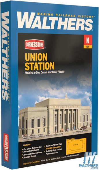 """Walthers 933-3257 Union Station Kit - 16 x 6 x 5-1/2"""" : N Scale"""