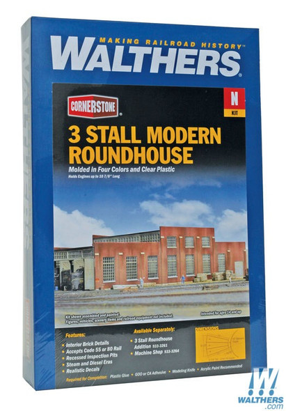 """Walthers 933-3260 3-Stall Modern Roundhouse Kit 10-13/16 x 3-15/16"""" : N Scale"""