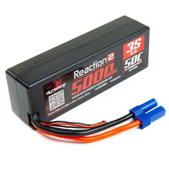 Dynamite DYNB5035H5 Reaction 2.0 11.1V 5000mAh 50C 3S Hardcase LiPo Battery EC5