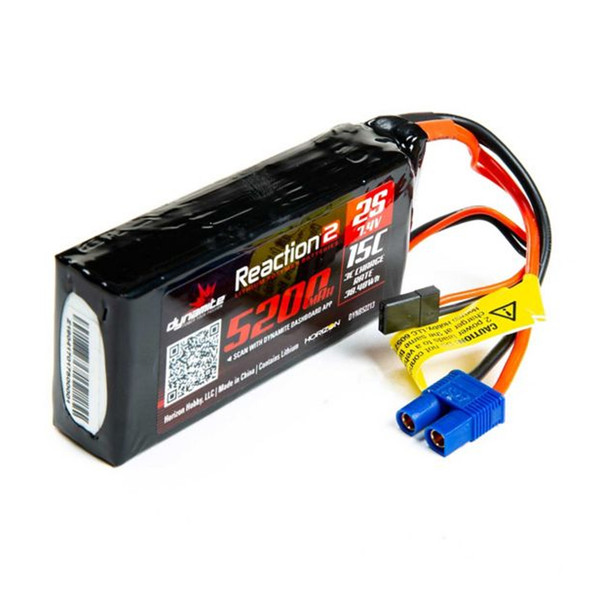 Dynamite DYNB52213 Reaction 2.0 7.4V 5200mAh 15C 2S LiPo Battery: 5IVE-T / Mini WRC