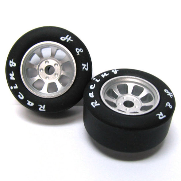 H&R Racing HR1106 Nascar Front Silver Narrow Wheel w/ Silicone Tire (2) 1:24 Slot Car