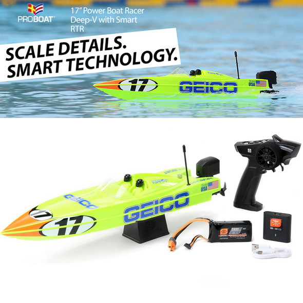 """Pro Boat PRB08044T1 17"""" Power Boat Racer Deep-V RTR Miss GEICO"""