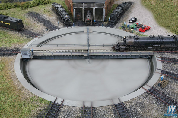 """Walthers 933-2859 Motorized 130' Turntable Assembled 19-1/8"""" Overall Diam. : HO Scale"""