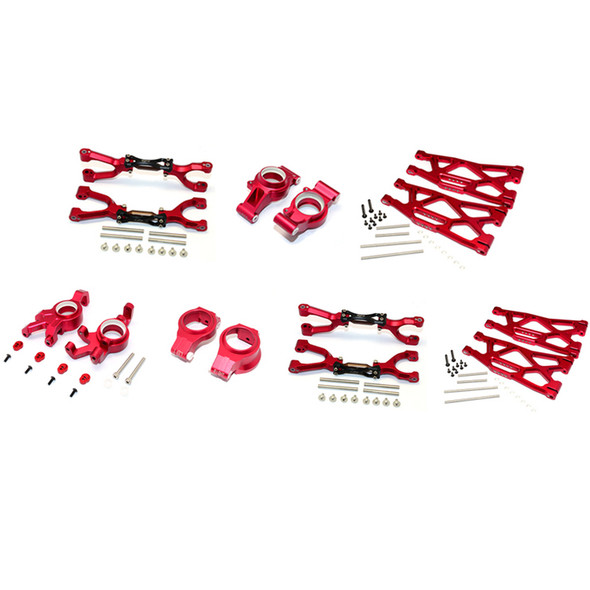 GPM Racing Alum F/R Up/Low Arms & Front C Hubs/Knuckle Arms Set Red : X-Maxx