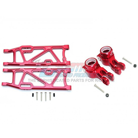 GPM Racing Alum Rear Lower Arms+Rear Knuckle Arms -14Pcs Set Red : Kraton / Outcast