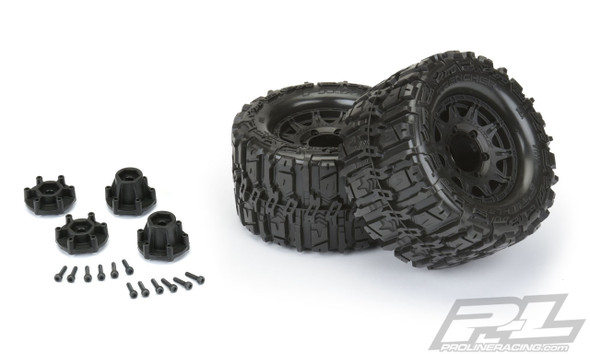 """Pro-Line 10168-10 Trencher HP 2.8"""" All Terrain BELTED Truck Tires w/ Black Wheels (2)"""